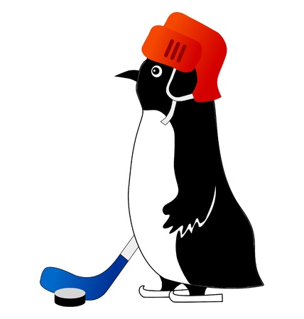 Funny character little penguin in cartoon style