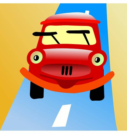 Funny character little car in cartoon style Vector