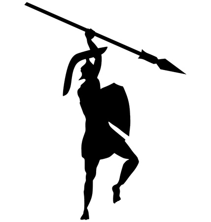 spear: silhouette of ancient Greek warrior on white Illustration