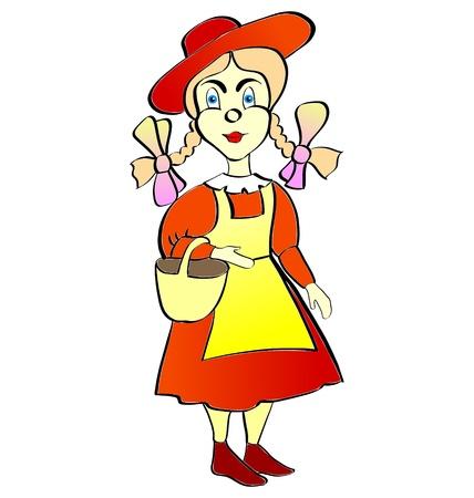 문학의: Literary character little Red Riding-hood with basket
