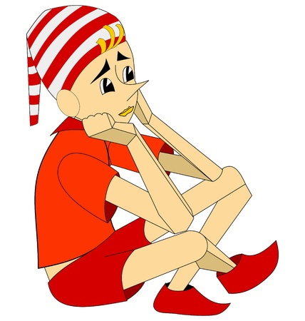 liar: Literary character Pinocchio is sitting on white