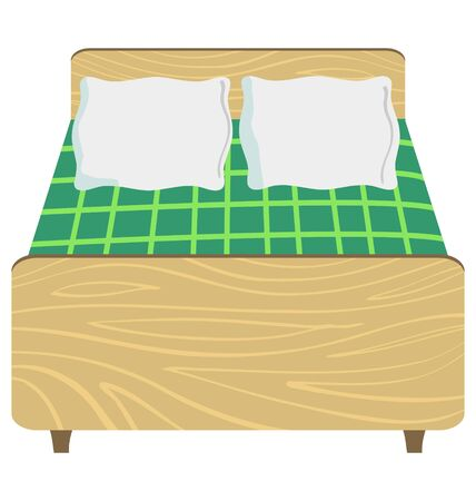 Big wooden double bed in front view Stock Vector - 10967499