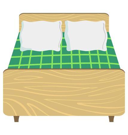 Grote houten tweepersoonsbed in vooraanzicht Vector Illustratie