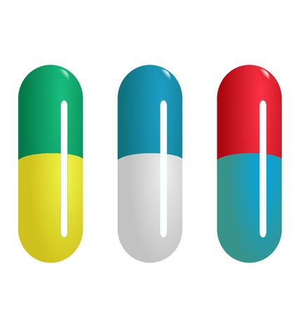 Set of colored pills on white background Stock Vector - 10967503
