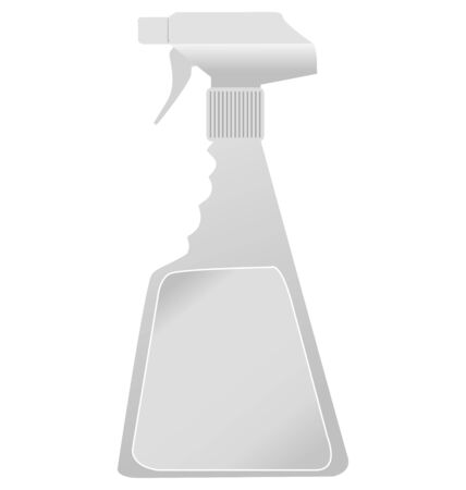 squirt: plastic spray bottle in side view on white Illustration