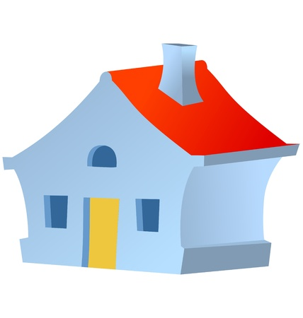 little house in children style on white Stock Vector - 10967518