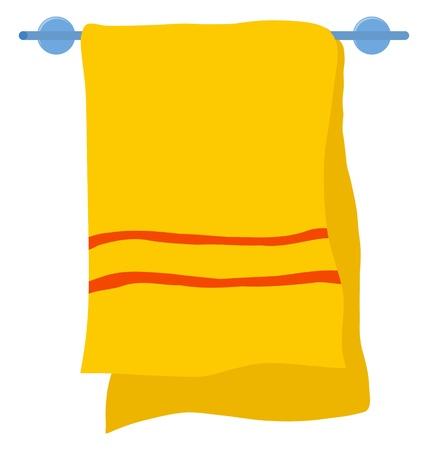 toalla: Toalla de hotel en una percha en el blanco