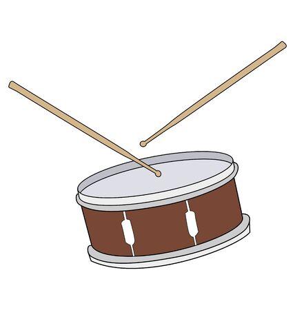 drum sticks: A drum with drumsticks on white background