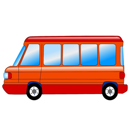 microbus in side view on white background Illustration