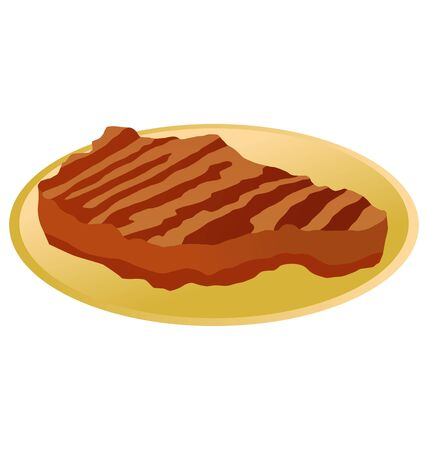roast steak on a plate on white background Vector