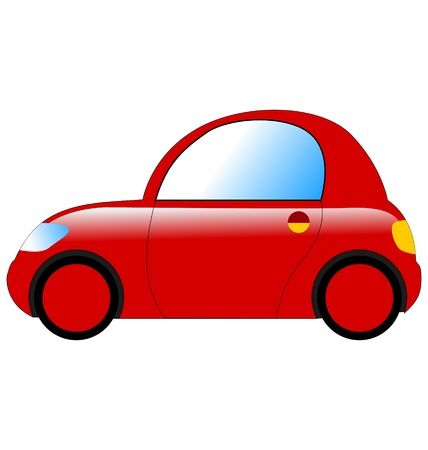 mini car in side view on white Vector