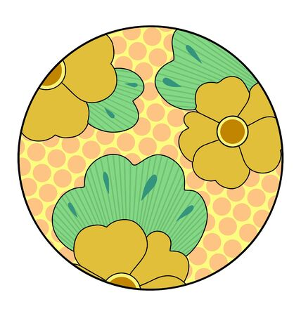 Floral Japanese ornament in a circle on white Stock Vector - 11159696