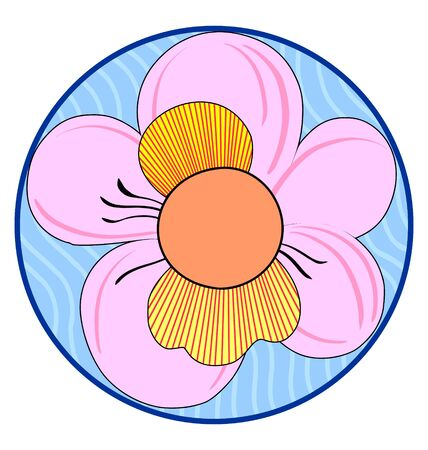 Floral Japanese ornament in a circle on white Stock Vector - 11159697