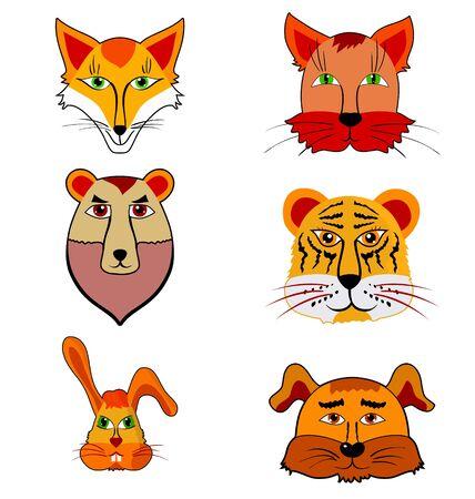 Set of cartoon illustration of different animals Vector