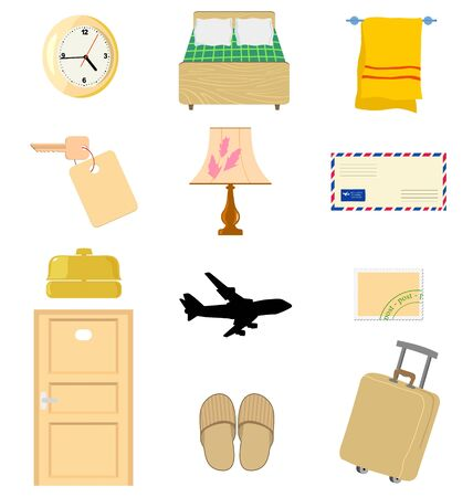 Big set of the different hotels objects Vector