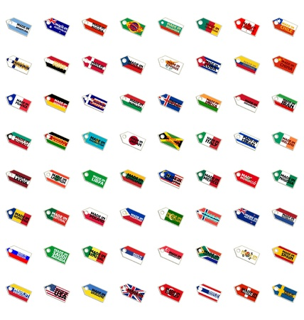 Set of the labels in national colors Vector
