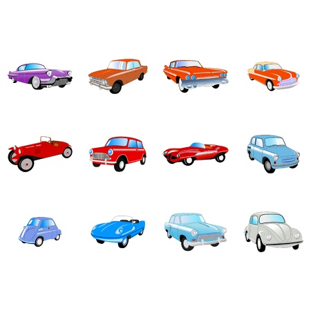 Big set of the different classical cars Vector