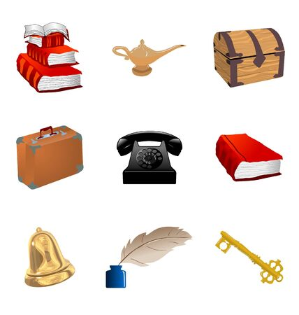 The set of the different vintage objects Vector