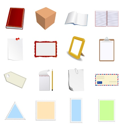 The big set of different objects with blank paper Vector