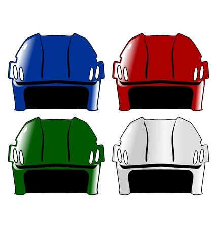 padding: The set of the four colored hockey helmets