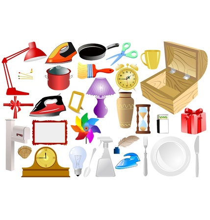 the big set of the different home related objects Vector