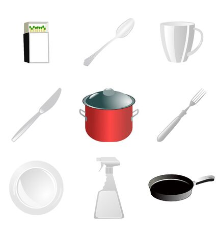 The set of the kitchen related objects Vector