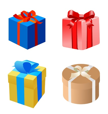 The set of the wrapped gift boxes Illustration