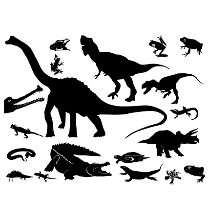 The set of the silhouettes of the reptiles Vector