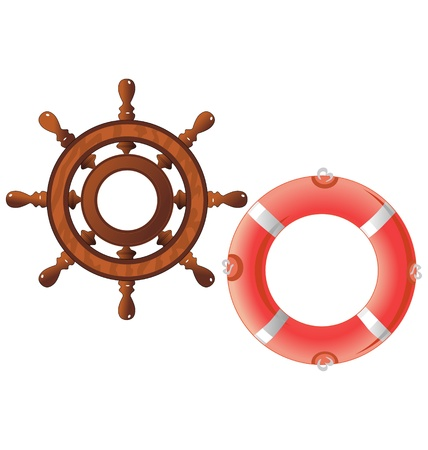 The set of a steering wheel and a lifebuoy Vector