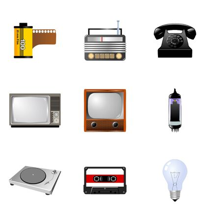 The set of the different vintage electronics Vector