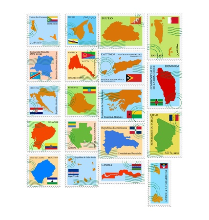 The set of the stamps with different countries Vector