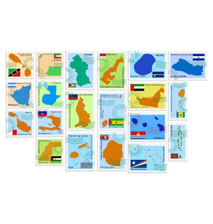 kiribati: The set of the stamps with different countries