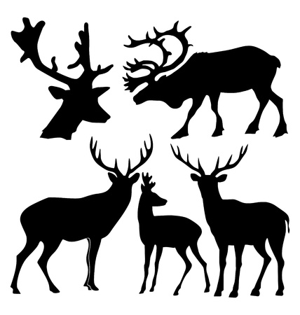 wildlife: The set of the silhouettes of the deer Illustration