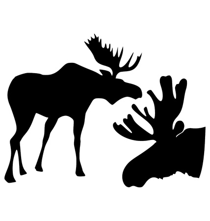 The set of the silhouettes of the moose Vector