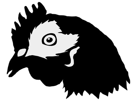 Illustration in style of black silhouette of hen Vector