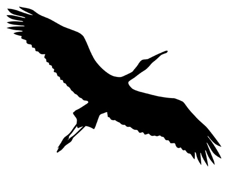Illustration in style of black silhouette of stork Vector