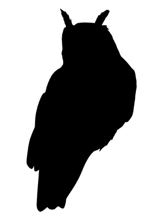 Illustration in style of black silhouette of owl Vector