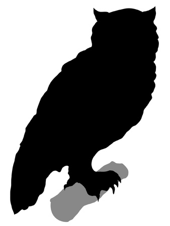 Illustration in style of black silhouette of owl Stock Vector - 11611336