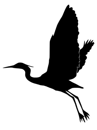 heron: Illustration in style of black silhouette of heron