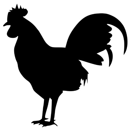 Illustration in style of black silhouette of cock
