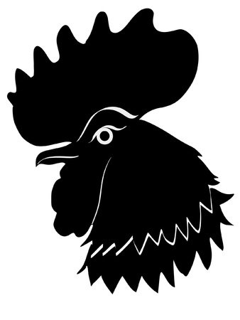 Illustration in style of black silhouette of cock Vector