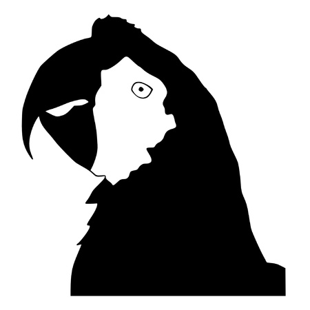 Illustration in style of black silhouette of macaw Vector