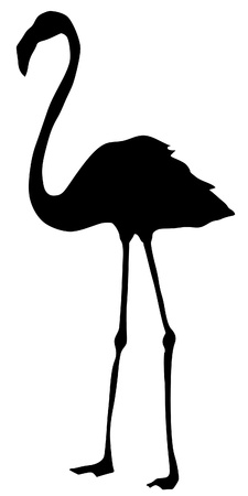 Illustration in style of black silhouette of flamingo Vector