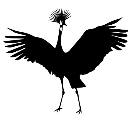 crowned: Illustration in style of black silhouette of African crowned crane