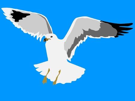 m�ve: Illustration im Stil von Silhouette des seagull