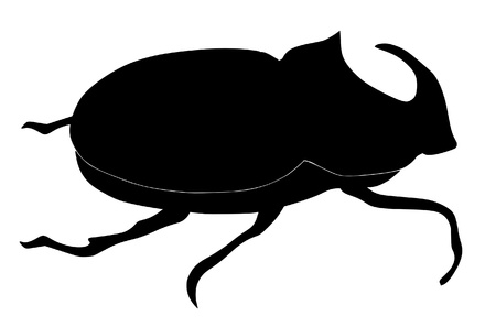 One illustration of the silhouette of rhinoceros beetle Vector