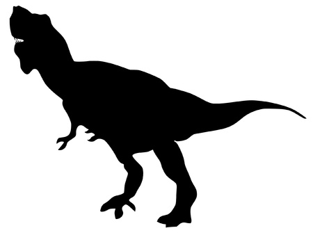 a black illustration of silhouette of tyrannosaurus Vector