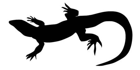 sauri: un nero illustrazione di silhouette di lucertola Vettoriali