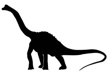 a black illustration of silhouette of brachiosaurus Vector