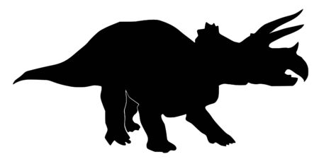 an illustration of black silhouette of triceratops Vector